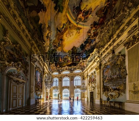 MUNICH, GERMANY, AUGUST 20, 2015: inside nymphenburg castle in Munich, Germany. It owes its foundation as a summer residence to the birth of the heir to the throne, Max Emanuel, born in 1662.