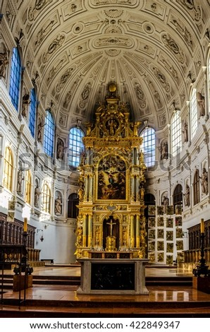 MUNICH, GERMANY, AUGUST 20, 2015: Interior of the St. Michael Church in Munich, Germany
