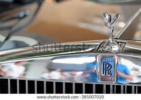 MUNICH, GERMANY - 4 AUGUST 2015: Logo of  Rolls Royce, photo made at BMW World showroom in Munich, Germany. - stock photo