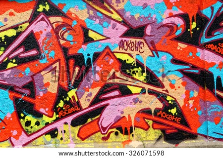 MUNICH, GERMANY - 4 AUGUST 2015: Mural by unknown artist at the famous graffiti spot - Tumblingerstrasse in Munich, Bavaria. - stock photo
