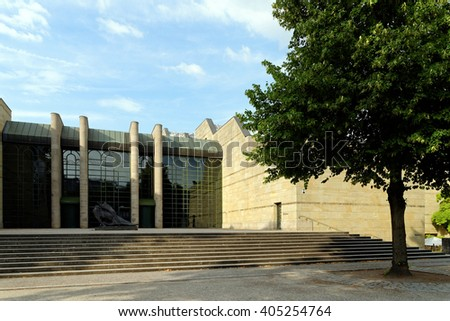 MUNICH, GERMANY - AUGUST 4, 2015: New  Pinacotheca, one of the most important art museums of the nineteenth century in the world. Its focus is European Art of the 18th and 19th century. - stock photo