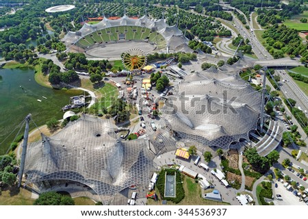 "MUNICH, GERMANY - 4 AUGUST 2015: ""Olympiapark"", constructed for the purpose of the 1972 Summer Olympics in Munich, Germany seen from above."
