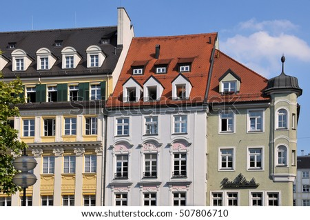 MUNICH, GERMANY - AUGUST 18, 2012: Traditional architecture buildings in the center of the city
