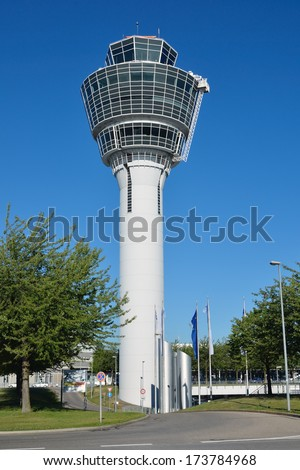 MUNICH, GERMANY - AUGUST 12: View of airport tower on August 12, 2012 in Munich, Germany. Airport Franz-Josef Strauss is the second largest in Germany. Pass every year about 30 million passengers.