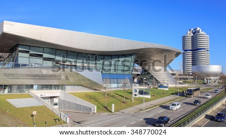 MUNICH, GERMANY - DECEMBER 5, 2015: BMW World and Headquarters of BMW in Munich - stock photo