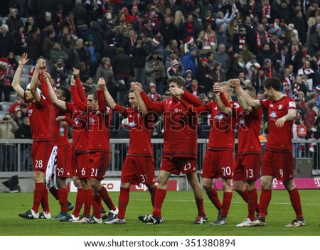 MUNICH, GERMANY - DECEMBER 12 2015:  during the Bundesliga match between Bayern Muenchen and FC Ingolstadt, on December 12, 2015 in Munich, Germany.  - stock photo