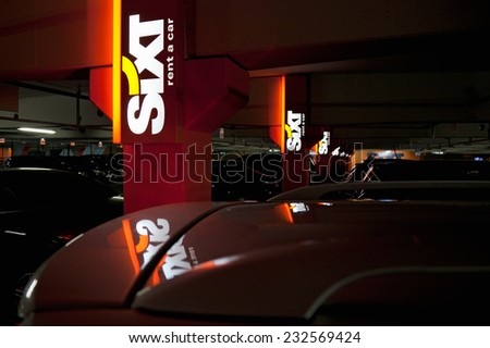 "MUNICH, GERMANY - DECEMBER 24, 2009:  ""Sixt"" rent a car at Munich Germany Airport. Sixt is an international car rental company with over 2,000 locations spread over 100 different countries."