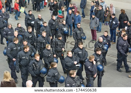 MUNICH, GERMANY - FEBRUARY 1, 2014: Police presence at the Munich Security Conference during their annual meeting.  - stock photo