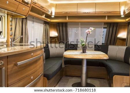 Munich, Germany - January 19,2015 - Interior of Motorhome