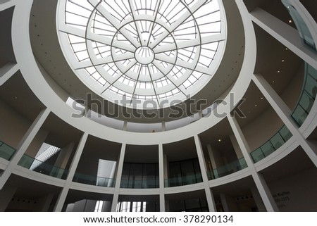 Munich, Germany - January 03 2016: The glass dome of Pinakothek der Moderne museum, situated in the city centre of Munich