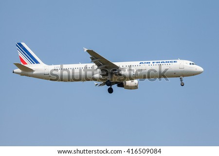 MUNICH, GERMANY - JULY 07, 2013: Airplane at Munich Airport named Franz Josef Strauss. Air France Airlines Airbus A321 is landing