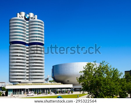 MUNICH, GERMANY - JULY 1, 2015: BMW Museum, an automobile museum in Munich, Germany. It was established in 1972