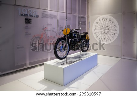 MUNICH, GERMANY - JULY 1, 2015: BMW RS 255 at the BMW Museum, an automobile museum in Munich, Germany. It was established in 1972