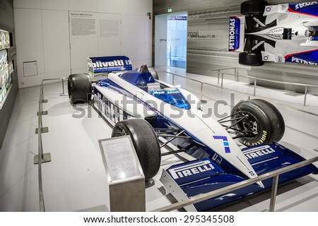 MUNICH, GERMANY - JULY 1, 2015: Fast racing car at the BMW Museum, an automobile museum in Munich, Germany. It was established in 1972