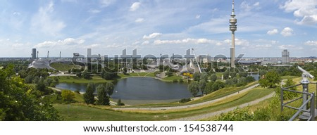 MUNICH, GERMANY - JULY 06: High resolution panorama of the Olympic park of Munich on July 06, 2010. Constructed for 1972 Olympic games, the park and facilities are one of Munich's main attractions.