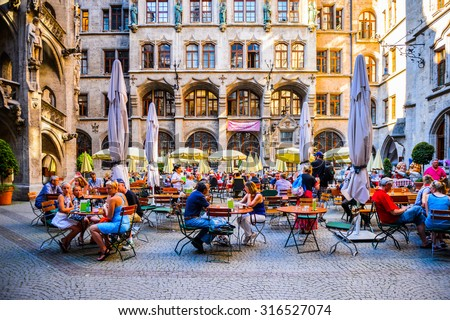 MUNICH, GERMANY - JULY 1, 2015: Marienplaz in Munich. Munuch is the capital and largest city of the German state of Bavaria - stock photo
