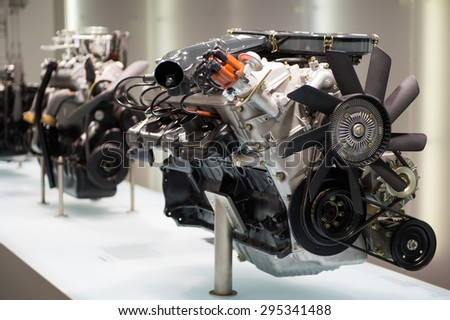MUNICH, GERMANY - JULY 1, 2015: Motors at the BMW Museum, an automobile museum in Munich, Germany. It was established in 1972