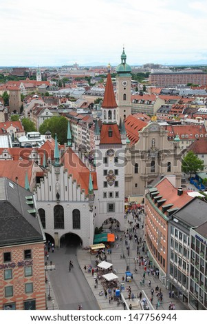 MUNICH, GERMANY - JUNE 21:  Aerial view on the Old Town Hall in the center of Munich, Germany, on June 21, 2013. Munich is the third largest city in Germany.