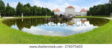 MUNICH, GERMANY - JUNE 07, 2012: Nymphenburg Palace. The Nymphenburg Palace, Castle of the Nymph is a Baroque palacei and the main summer residence of the former rulers of Bavaria.