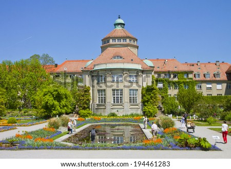 MUNICH, GERMANY - MAI 20,2014, the central building of the Botanical Garden in Munich. The botanical Garden was created in 1914 and cultivates about 14.000 species.