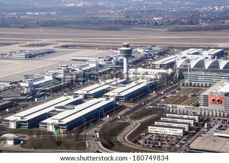 MUNICH, GERMANY - MAR 9, 2014: Aerial view of the Munich International airport (Flughafen Munchen)  . It is the second busiest airport in Germany in terms of passenger traffic behind Frankfurt Airport