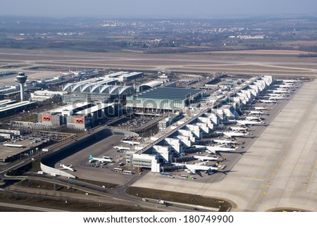 MUNICH, GERMANY - MAR 9, 2014: Aerial view of the Munich International airport (Flughafen Munchen)  . It is the second busiest airport in Germany in terms of passenger traffic behind Frankfurt Airport - stock photo