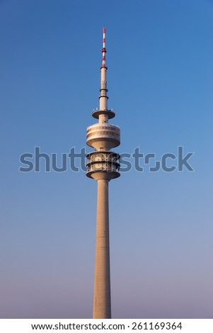 MUNICH, GERMANY - MARCH 15, 2015: Olympic Tower (Olympiaturm) with revolving restaurant on top, Munich, Bavaria, Germany - stock photo