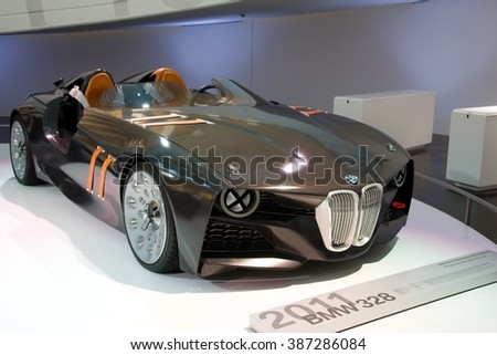 MUNICH, GERMANY - 5 MARCH 2016: The BMW  328 Hommage presented at BMW Museum in Munich, Germany. - stock photo
