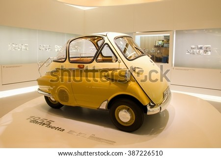 MUNICH, GERMANY - 5 MARCH 2016: The BMW Isetta presented at BMW Museum in Munich, Germany. - stock photo