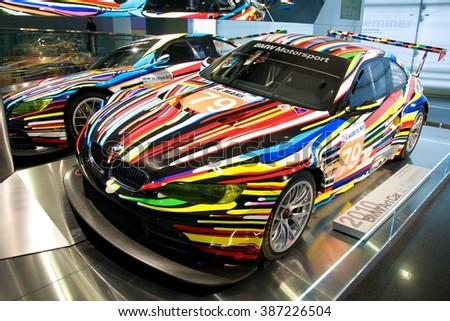 MUNICH, GERMANY - 5 MARCH 2016: The BMW model 3 art car presented at BMW Museum in Munich, Germany. - stock photo
