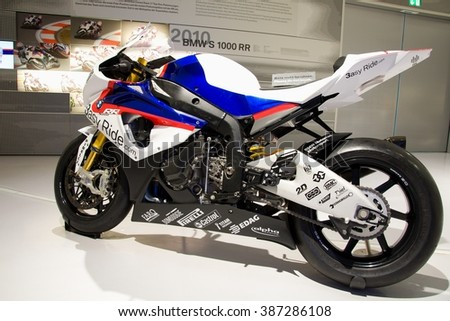 MUNICH, GERMANY - 5 MARCH 2016: The BMW S 1000 RR presented at BMW Museum in Munich, Germany. - stock photo