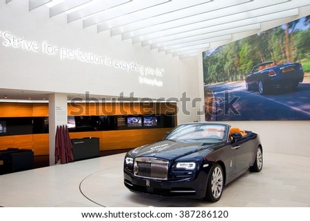 MUNICH, GERMANY - 5 MARCH 2016: The Rolls-Royce Dawn presented at BMW Museum in Munich, Germany. - stock photo