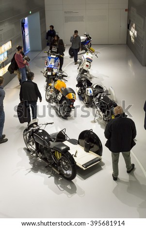 Munich, Germany - March 13, 2016: Vintage BMW motorbycles in BMW Museum
