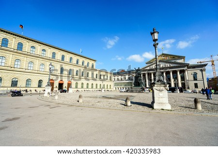 MUNICH, GERMANY - 14 MARCH 2016:Wittelsbacher Platz in sunlight