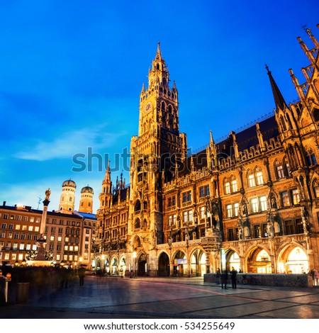 Munich Germany Marienplatz Night Town Hall Stock Photo 534255649 - Shutterstock