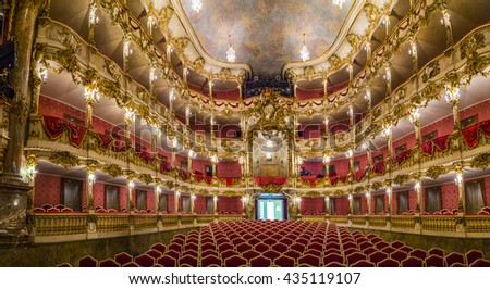 MUNICH, GERMANY - MAY 27, 2016: inside famous Munich Residence theater, the former royal palace of the Bavarian monarchs of the House of Wittelsbach.