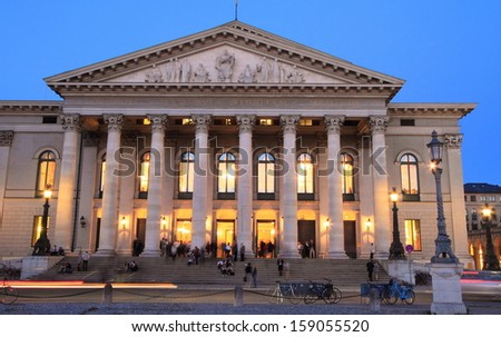 MUNICH,GERMANY- MAY 18: National Theater (Opera) of Munich at twilight on May 18, 2011 in Munich, Germany. It is the former royal opera house of the Bavarian monarchs in Munich city center.