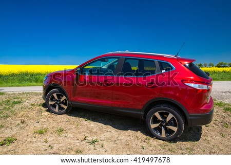Munich, Germany - May 8, 2016: View of a Nissan Qashqai, a compact crossover produced by the Japanese car manufacturer Nissan.