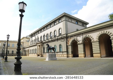 MUNICH, GERMANY - MAY 17: yard of  Bavarian National Archive on May 17, 2015 in Munich. This building is an example of italian styled architecture in Munich, Germany.