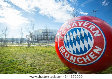 MUNICH ,GERMANY-NOVEMBER 13 ,22015: Ball logo Bayern Munchen FC in front of allianz Arena football stadium for fan club take photo in this area in Germany. - stock photo