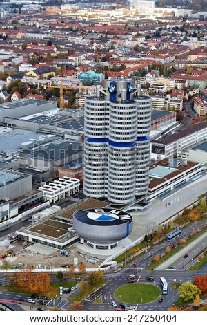 MUNICH - GERMANY November 7: BMW building museum on November 7, 2007, Munich, Germany. The BMW Museum is located near the Olympiapark in Munich and was established in 1972 - stock photo