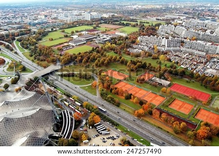 MUNICH, GERMANY - November 08: Stadium of the Olympiapark in Munich, Germany, is an Olympic Park which was constructed for the 1972 Summer Olympics on November 08, 2007, Munich Germany - stock photo