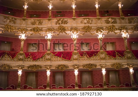 MUNICH,GERMANY- OCT 18: Baroque opera house of Munich Palace (Residenz), on Oct 18, 2013 in Munich, Germany. It is the former royal opera house of the Bavarian monarchs in Munich city center.  - stock photo