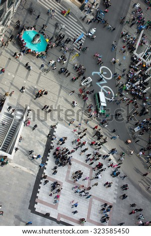 MUNICH, GERMANY - Oct.3, 2015: Beautiful Munich Weather Brings out  Locals and Oktoberfest Visitors on the Marienplatz.  The Festival runs from September 19th until October 4th 2015 in Munich, Germany - stock photo
