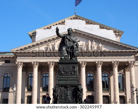 MUNICH, GERMANY - OCT 2: Statue of King Maximilian I Joseph of Bavaria at Max-Joseph-Platz in Munich, Germany on October 2, 2013. Munich is the third largest city in Germany.