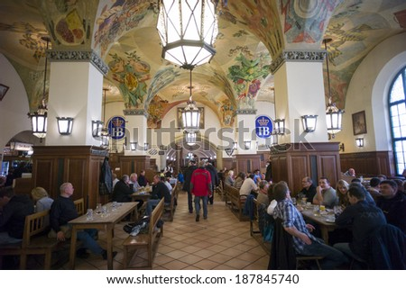 MUNICH, GERMANY - OCT 1: The beer hall Hofbrauhaus during Oktoberfest on October 1 2013 in Munich, Germany. It is one of the biggest beer hall in Munich.  - stock photo