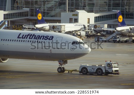 Munich, Germany - October 16, 2014:Airplane Airbus 340 of Lufthansa landed in the airport - stock photo