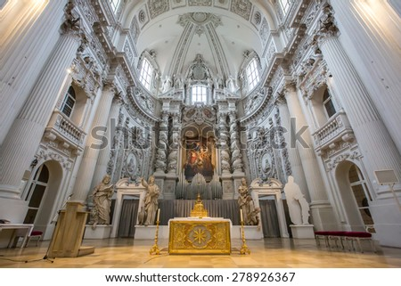 MUNICH, GERMANY - OCTOBER 30: Interior of Theatine Church on October 30, 2013 in Munich. Built from 1663 to 1690.