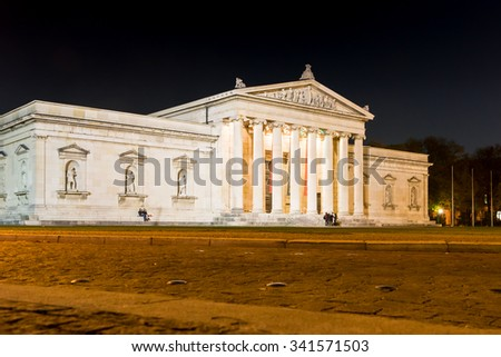 MUNICH, GERMANY - OKTOBER 26: Illuminated Glyptothek at Koenigsplatz in Munich, Germany on Oktober 26, 2015. During the third reich the square was used for Nazi parties.