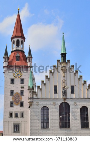 Munich, Germany. Old Town Hall in a sunny summer day
